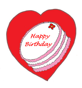 Love heart with birthday cake