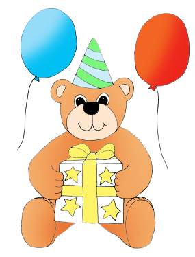 birthday clip art teddy bear with gift and balloons