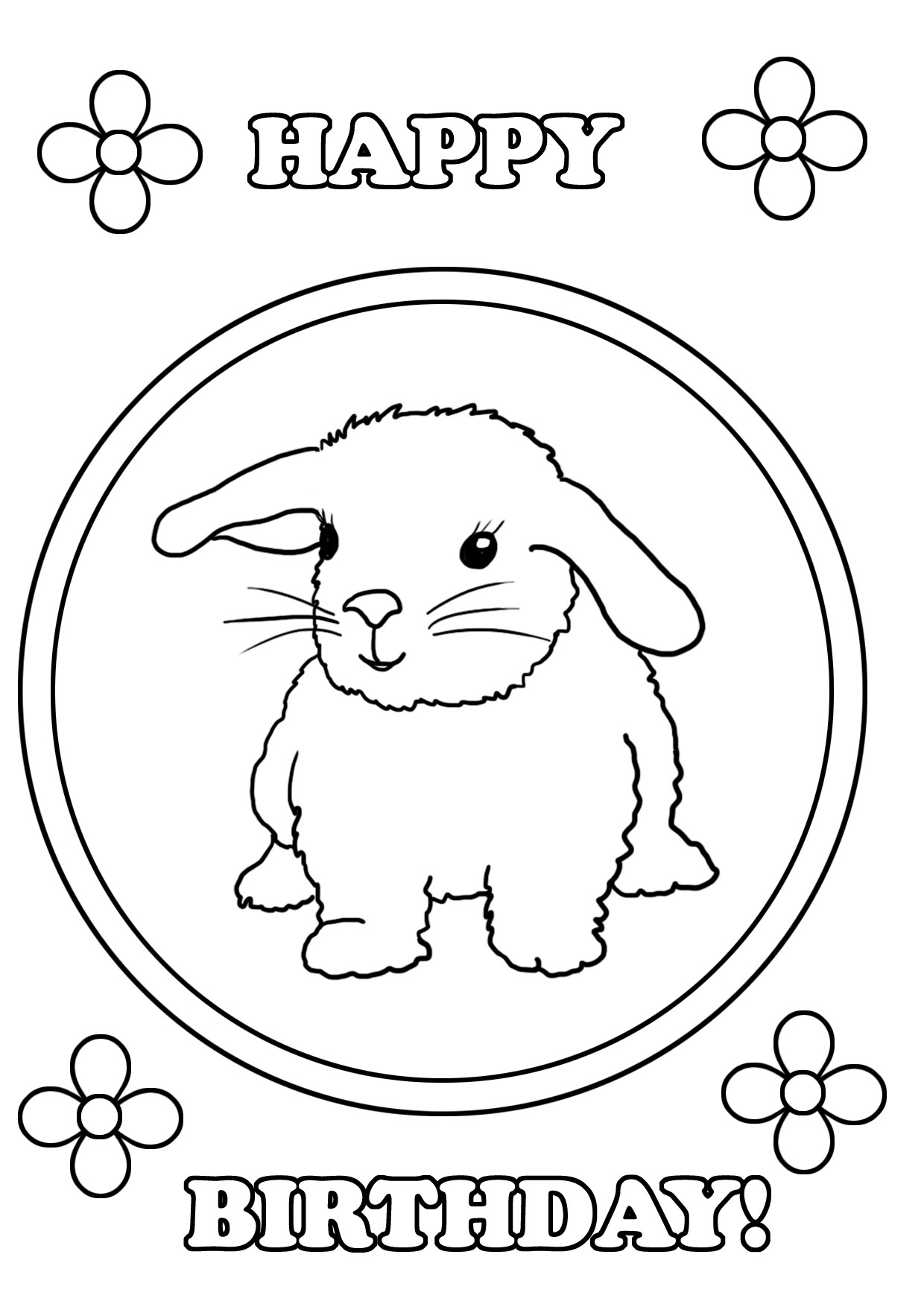 cute birthday coloring page with rabbit