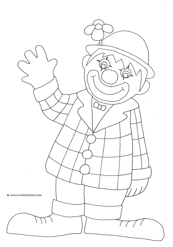Birthday clown coloring pages