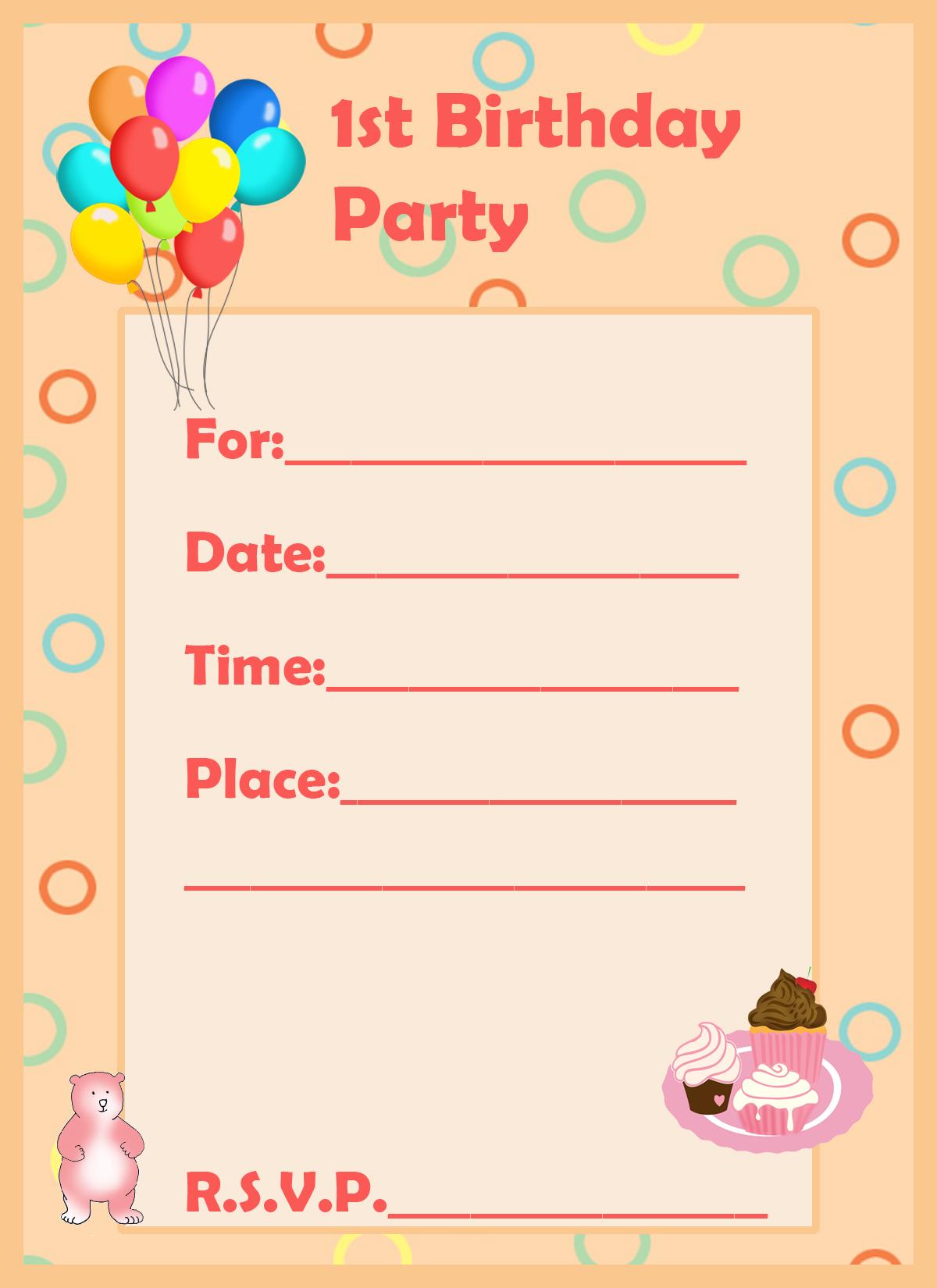 1st birthday invitation cake teddy