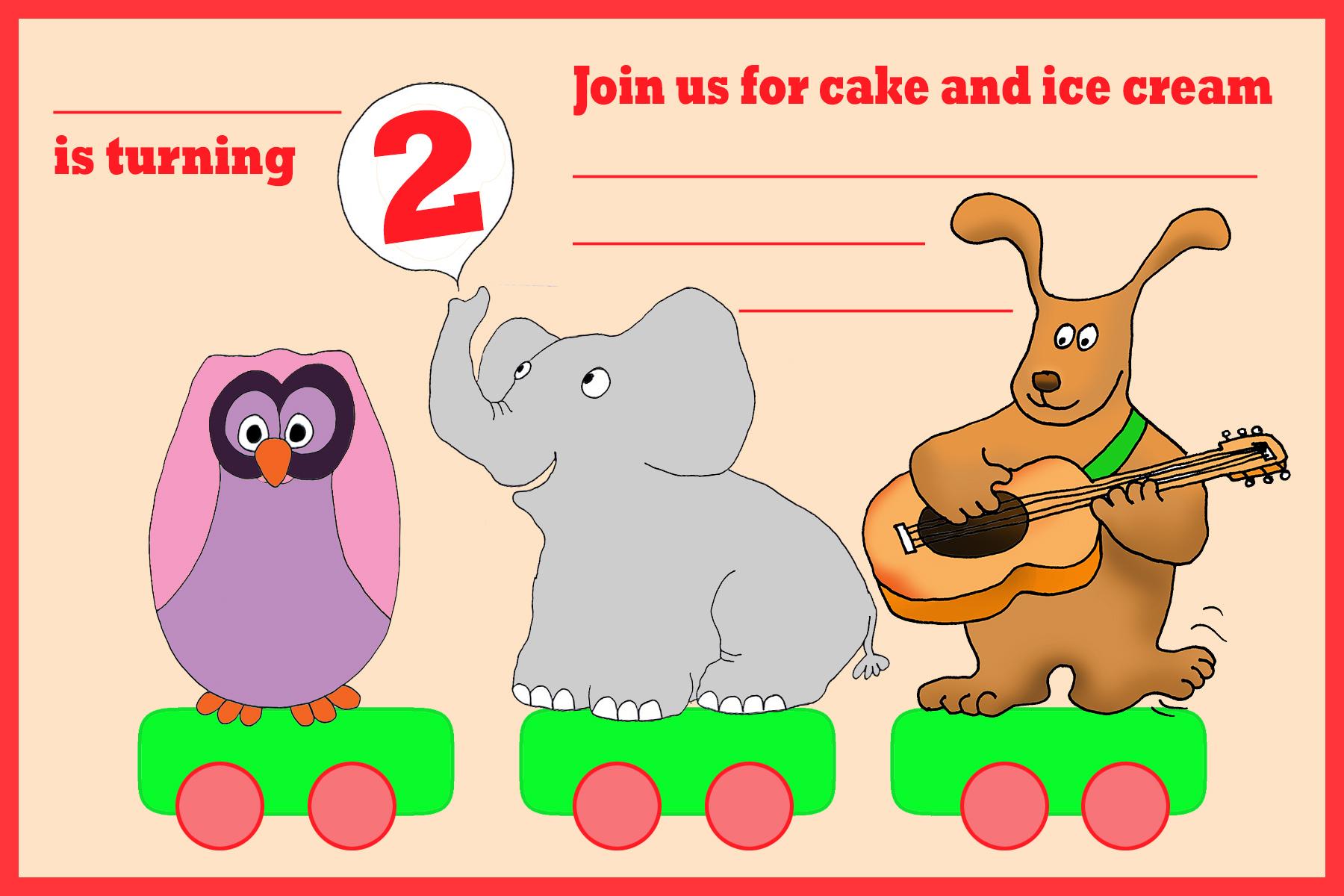 birthday train with animals invitation