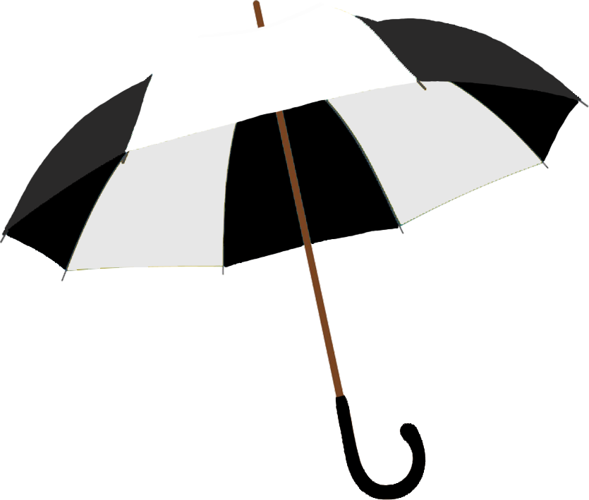 black and white umbrella graphic