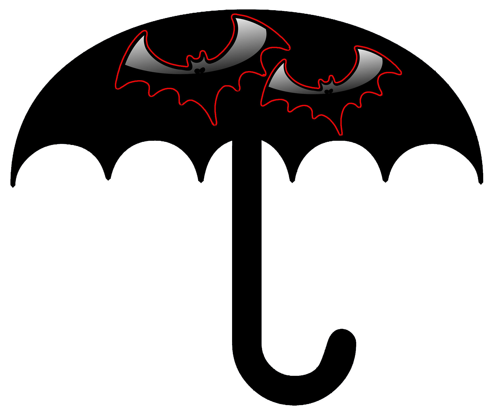 black Halloween umbrella with bats