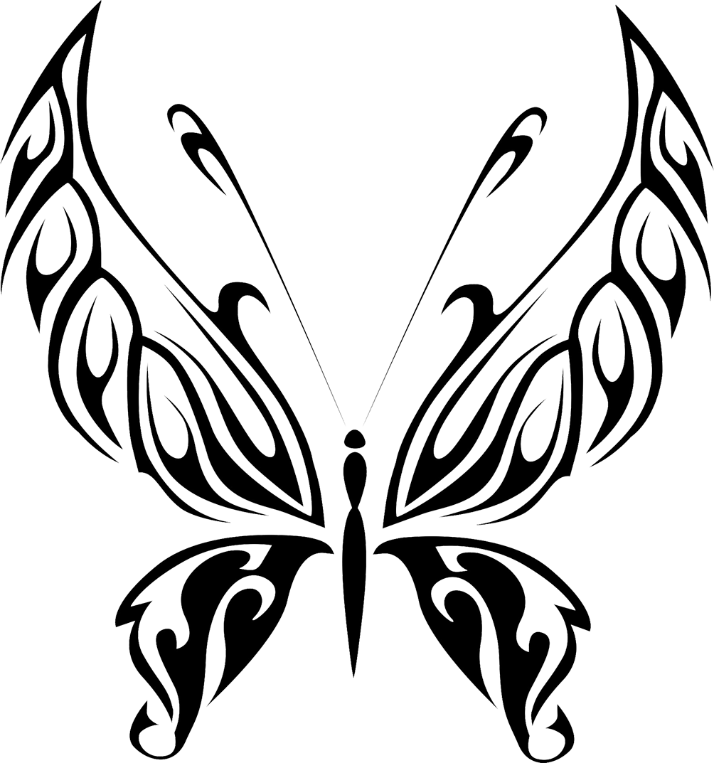 black butterfly drawing in shape