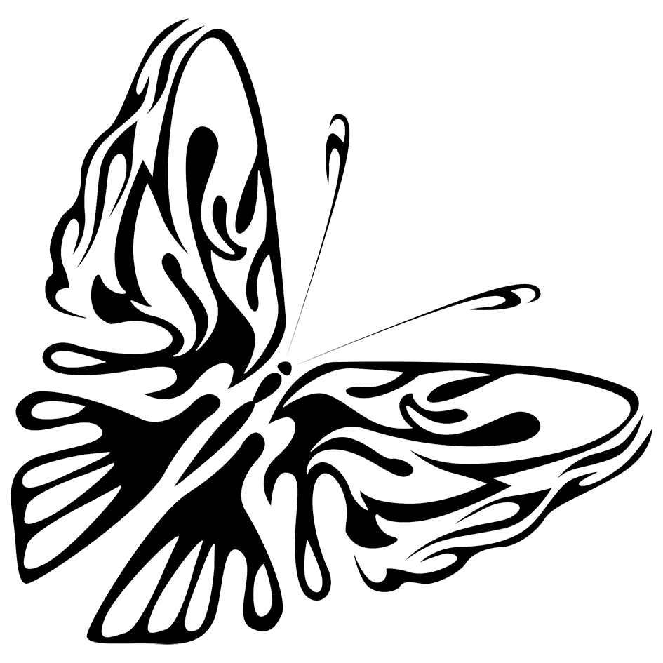 black PNG butterfly shape