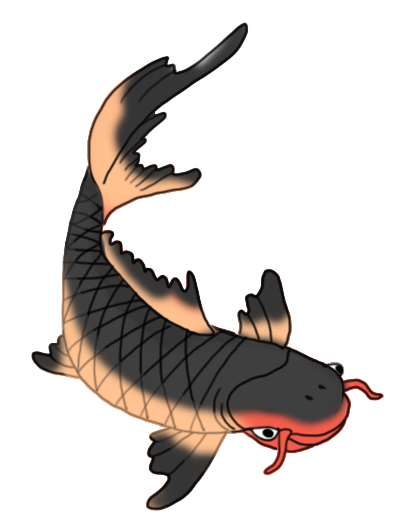 red and black koi fish clipart