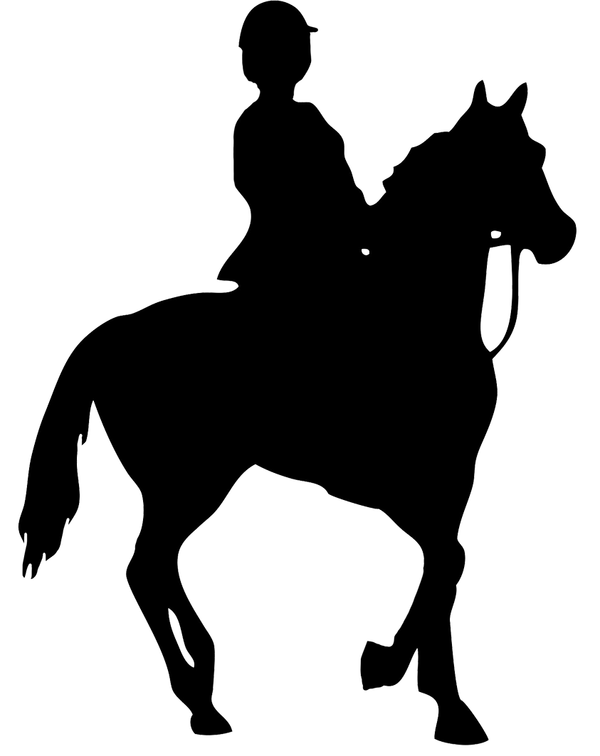 black silhouette of horse rider