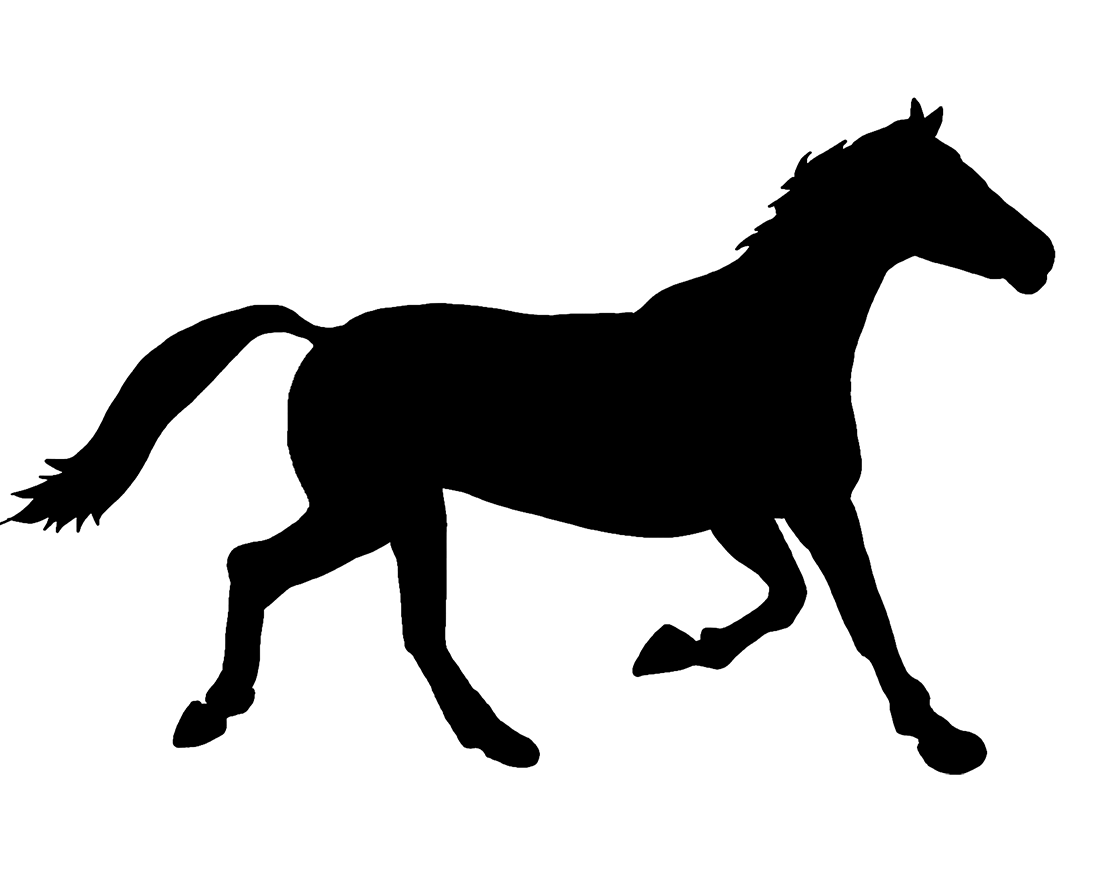 black silhouette of running horse
