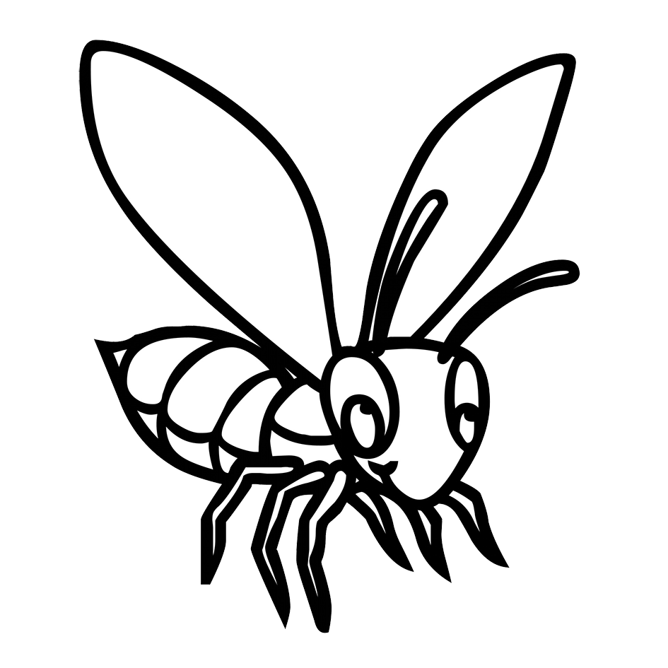 black white drawing bee