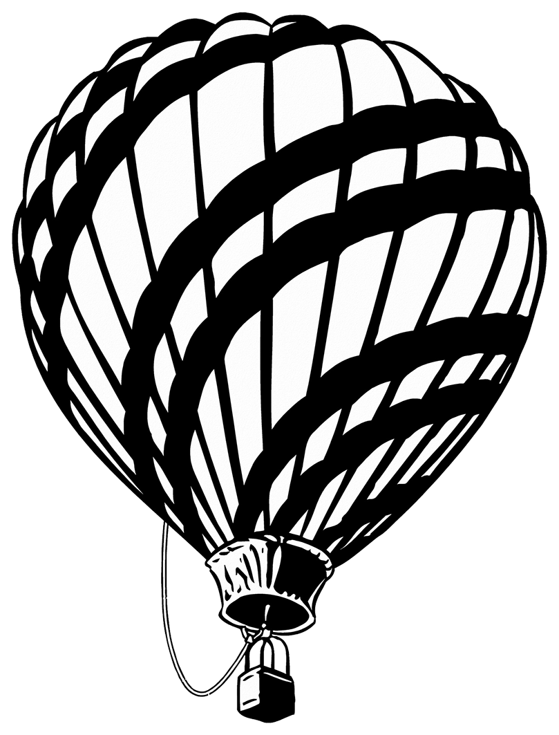black white hot air balloon clipart