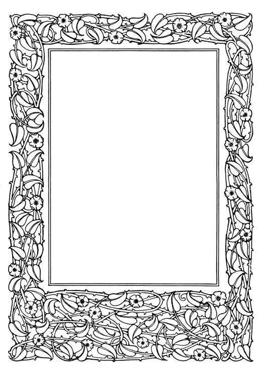 black white flower ornament frame