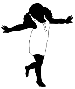 silhouette of girl playing