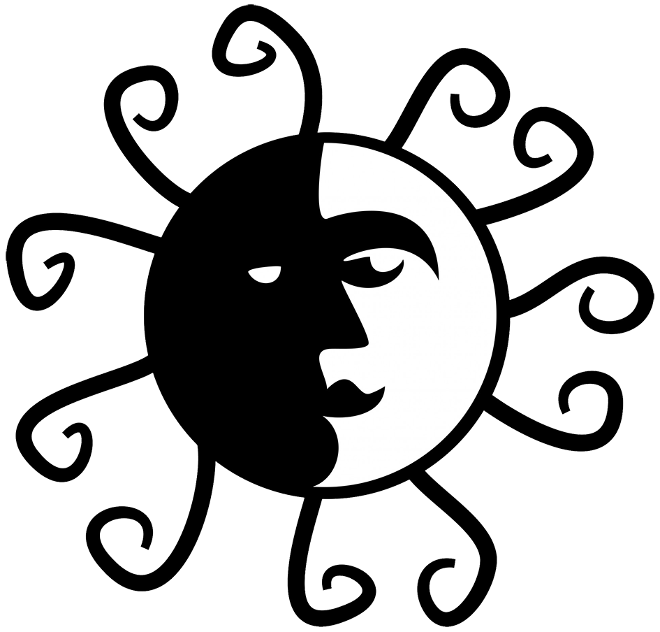 black white sun clipart