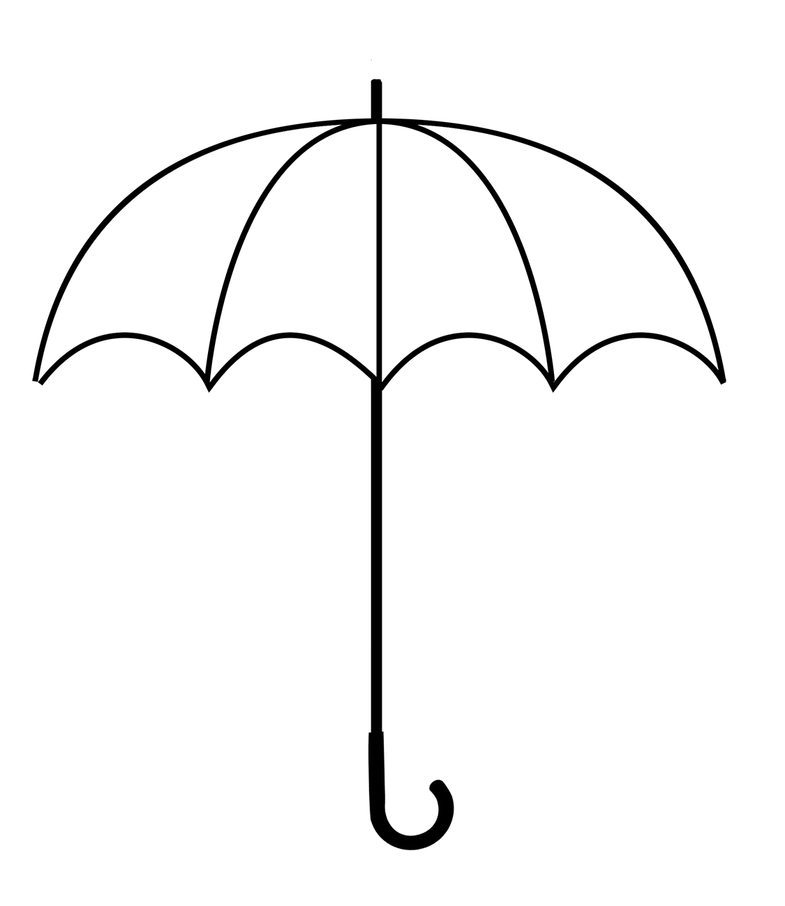 simple black and white umbrella clipart