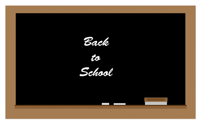 blackboard with back to school written