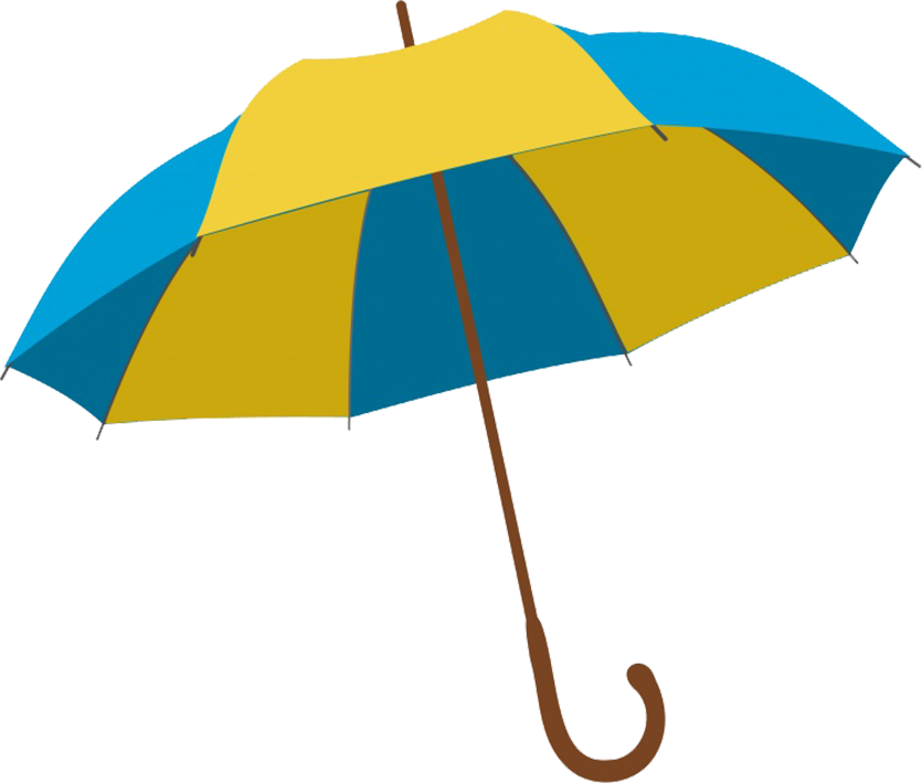 blue and yellow umbrella clipart