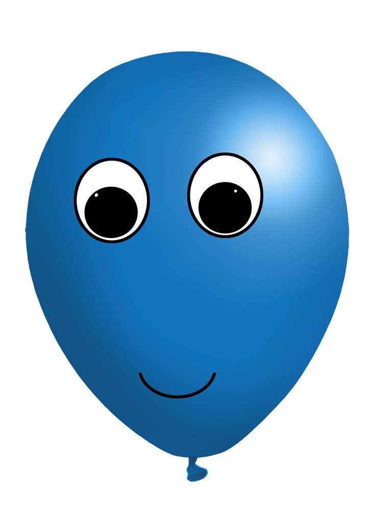 blue balloon with face