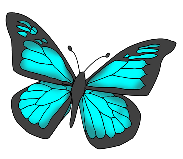 Blue and black colored butterfly clipart
