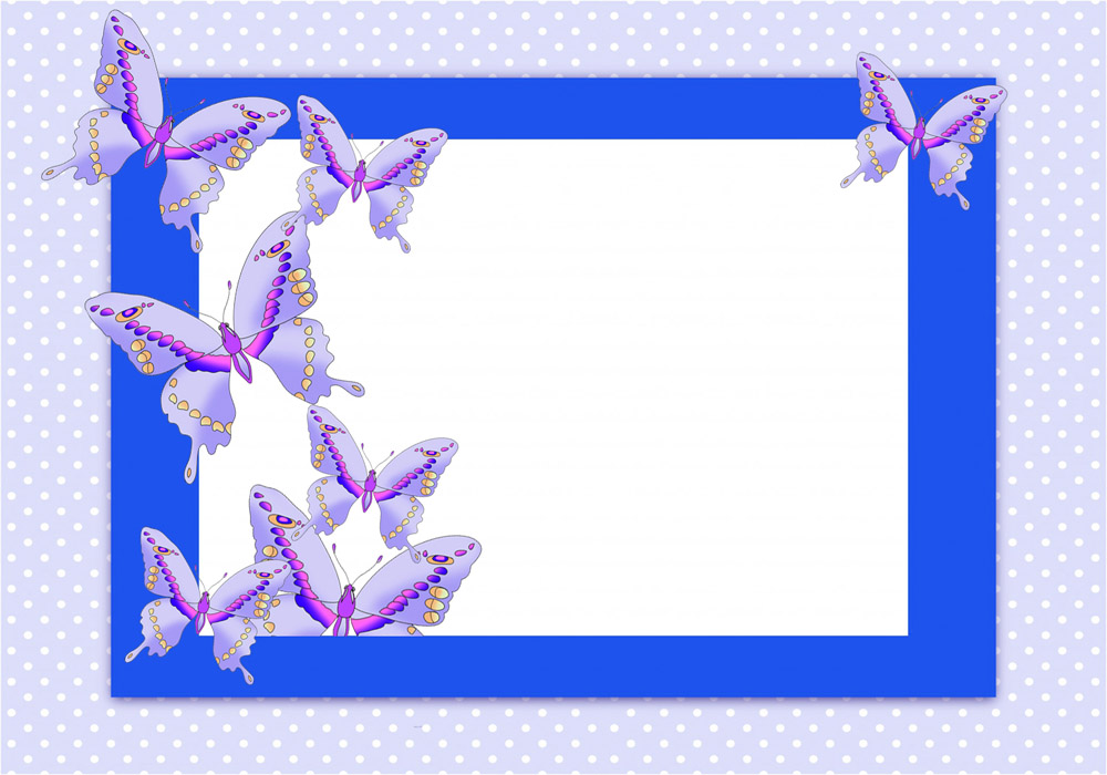 blue frame with blue butterflies