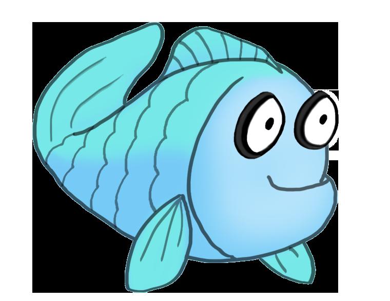 blue cartoon drawing of fish