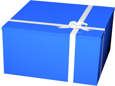 blue birthday gift box clipart