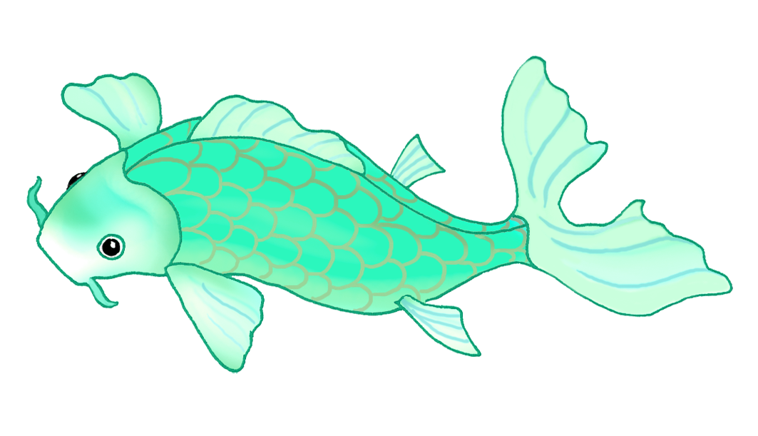 blue green koi fish drawing