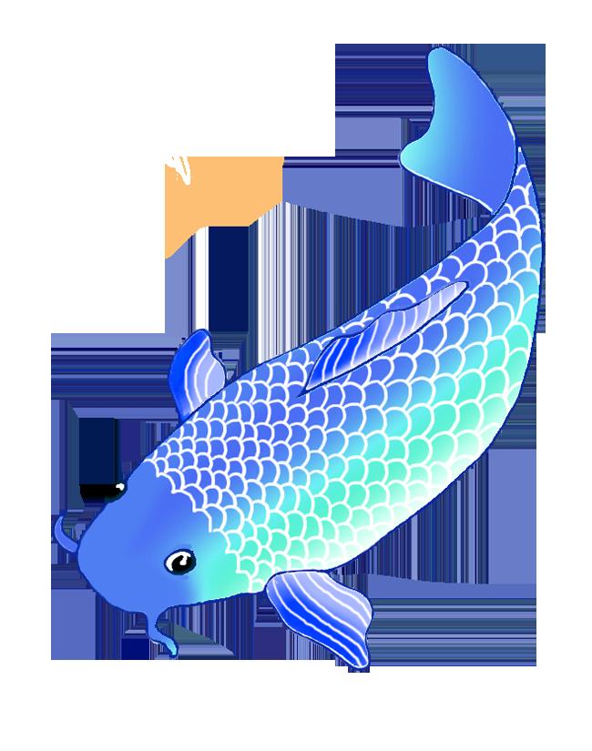 blue koi fish clip art
