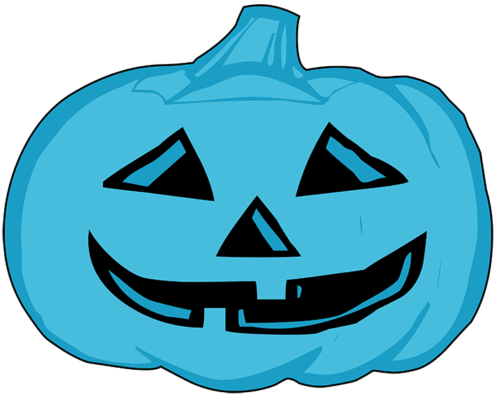 blue pumpkin head for Halloween
