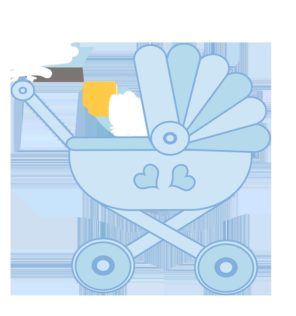 blue baby stroller clipart