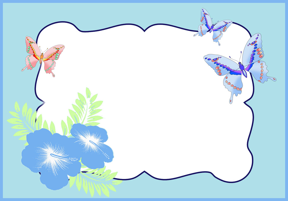 Blue butterfly frame