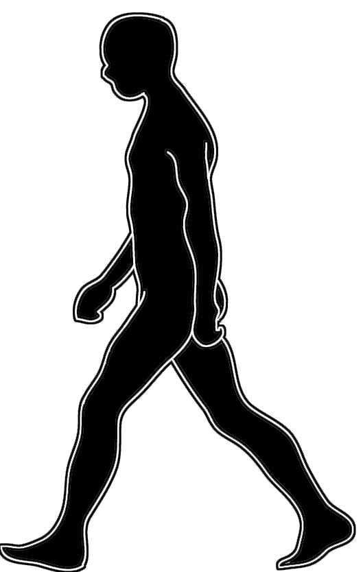 black white silhouette man walking
