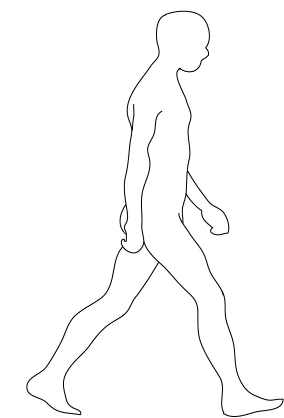 body silhouette of man walking