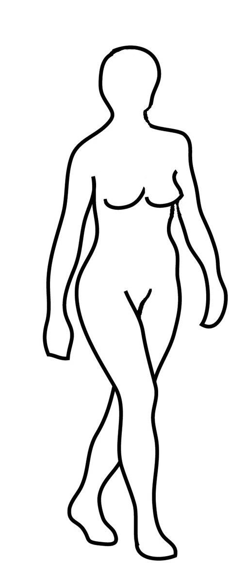 silhouette drawing of walking woman