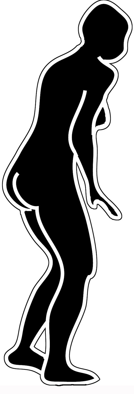 Black and white body silhouette woman