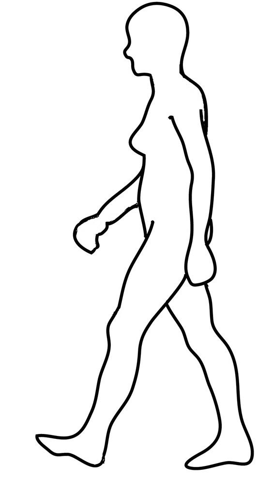 Silhouette of walking woman