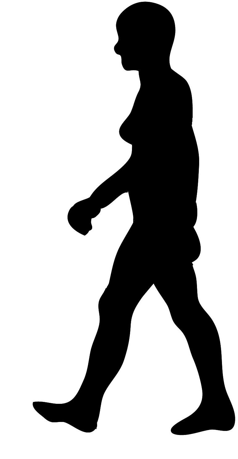 black silhouette walking woman