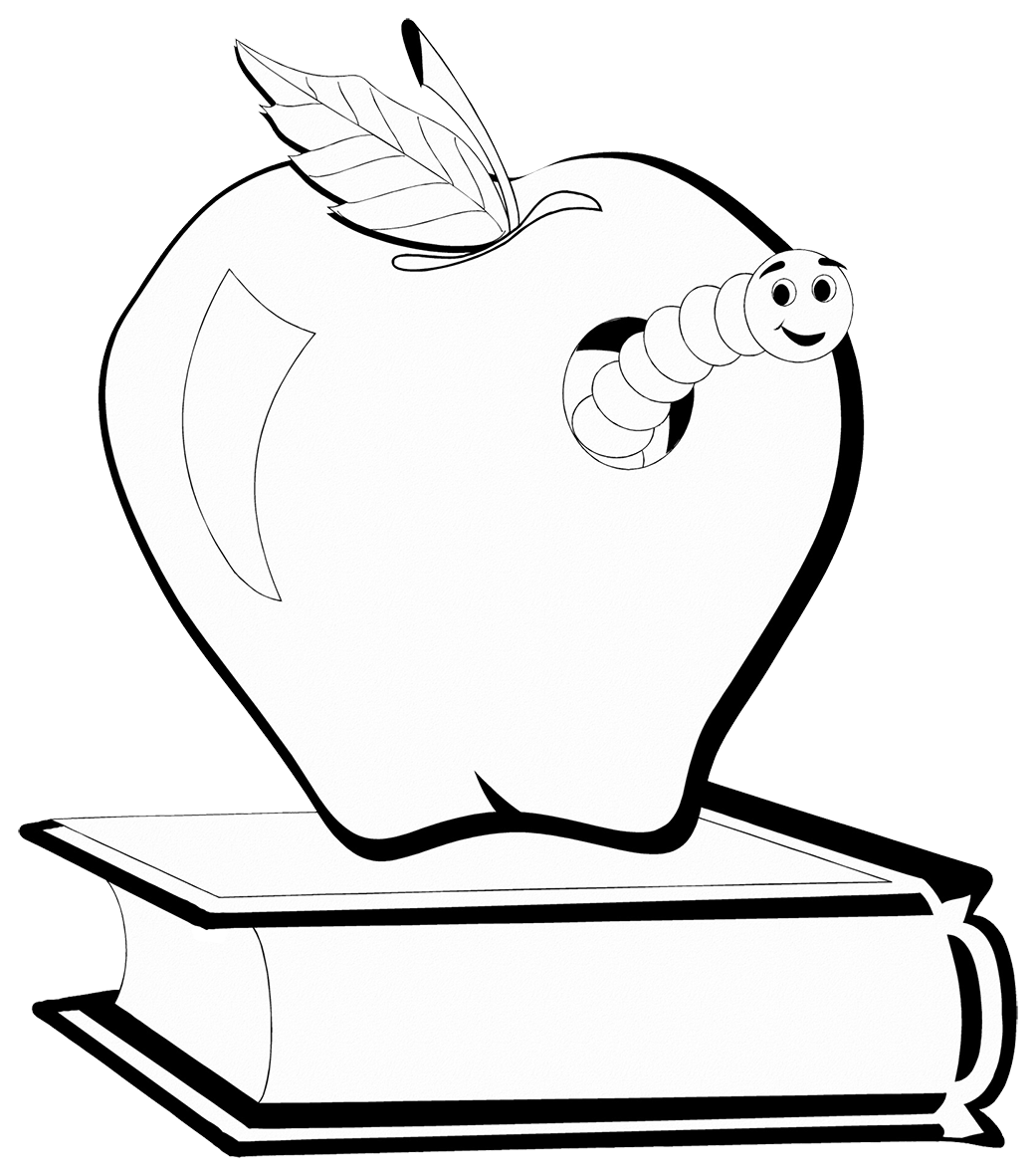 book worm on book in apple