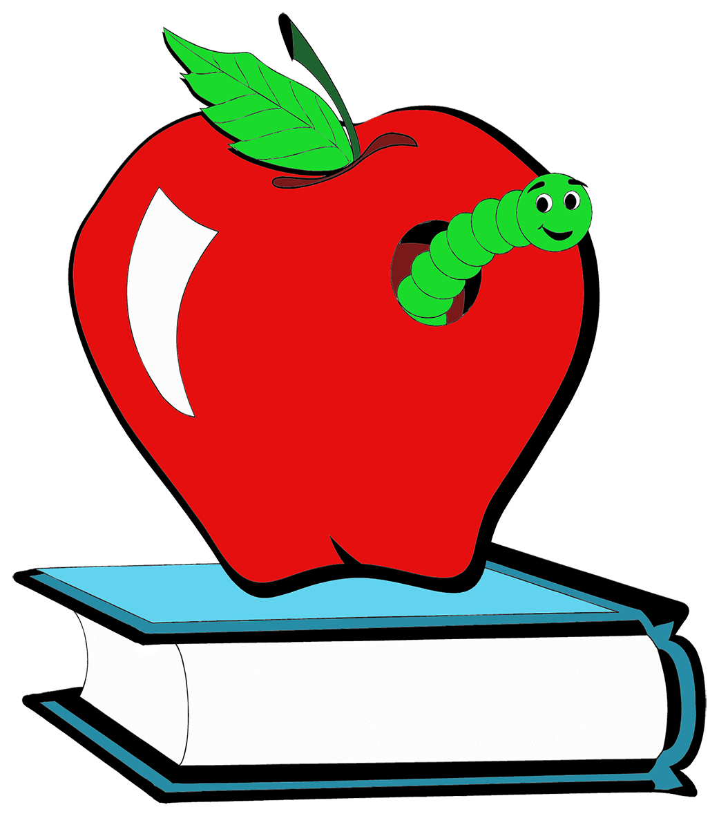 red apple with book worm