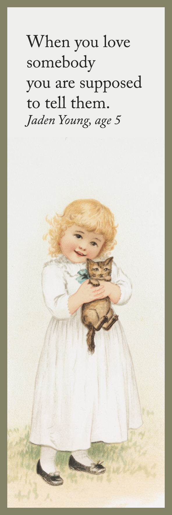 bookmark to print girl with kitten