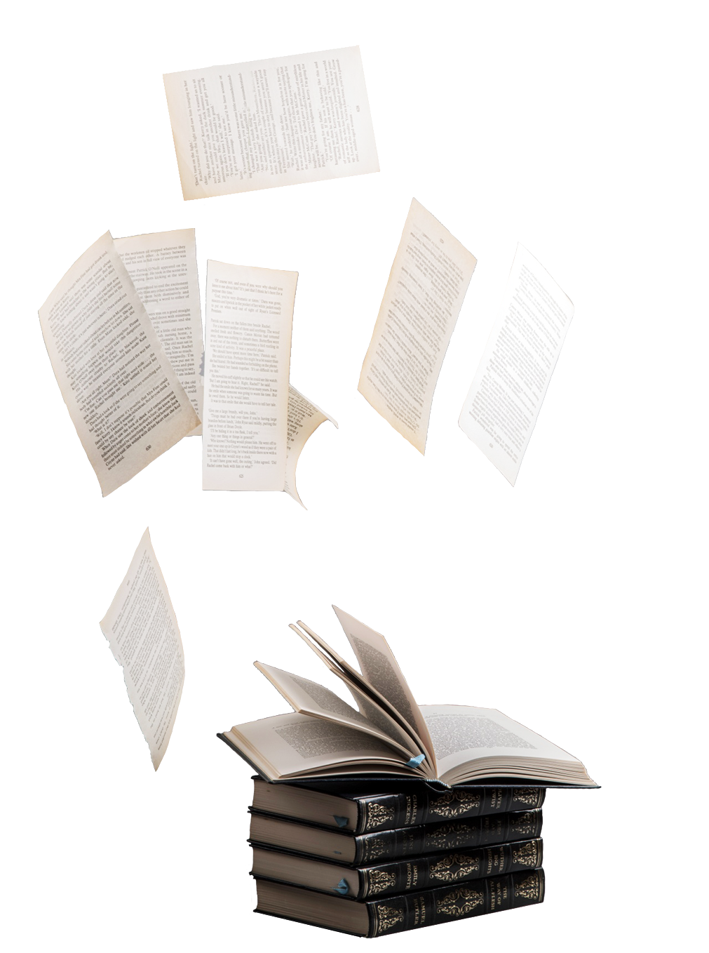 books and flying pages
