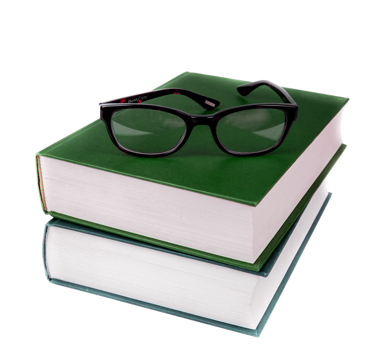 green books and glasses