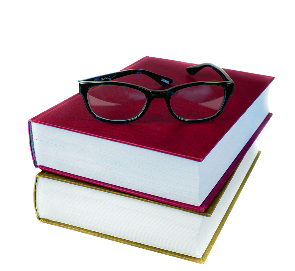 books in red-and green and glasses clipart