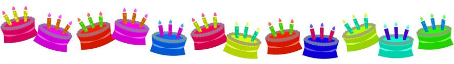 border of birthday cakes
