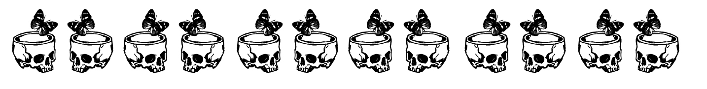 separator with skulls and butterflies