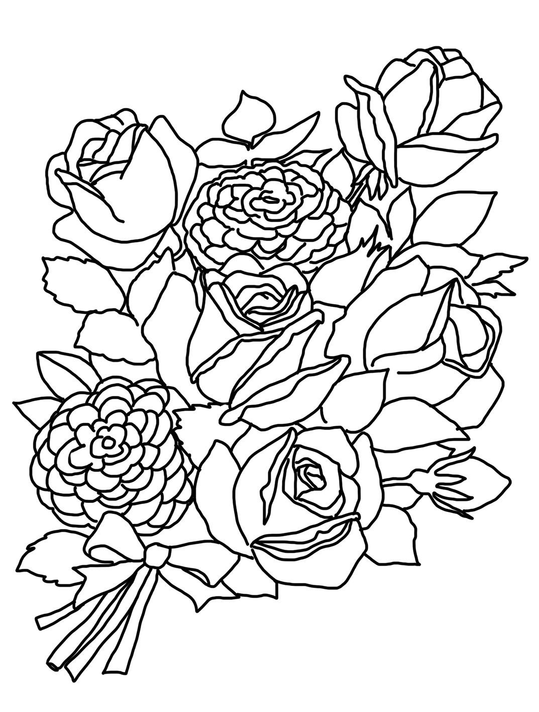flower coloring pages rose sketches