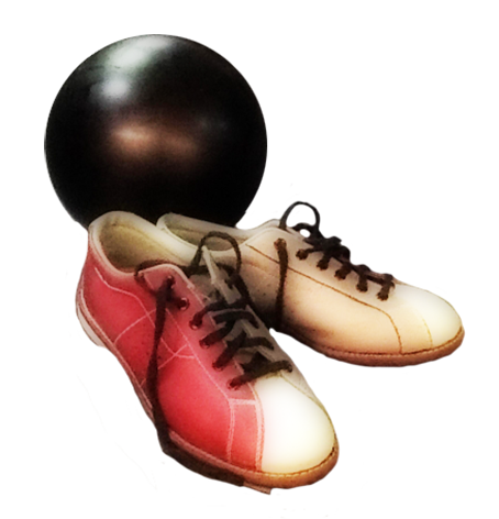 bowling shoes and bowling ball