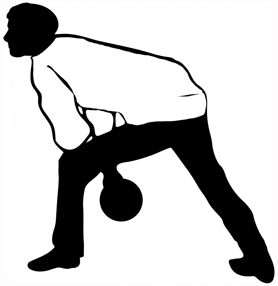 bowling man black white