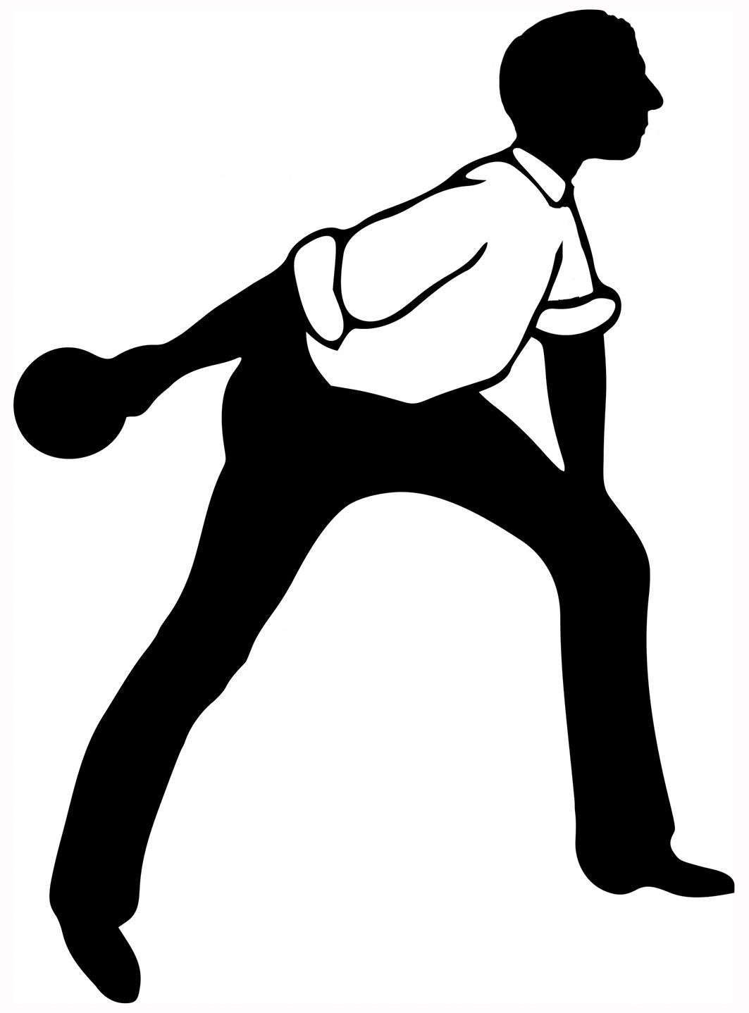 bowling silhouette man shirtsleeves