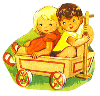 boy and girl in handcart